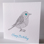 Happy birthday newsprint bird aqua black and white male dad brother father card