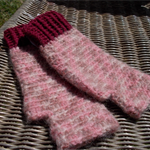 Crocheted fingerless mitts.   wool mohair and acrylic yarns, size M
