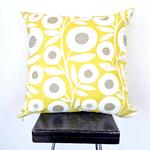 Lime Retro Flower Cushion Cover