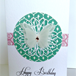 Double layered vellum butterfly pink green flock happy birthday pretty her card
