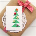6 Christmas tags mini cards gift tags buttons geometric christmas tree