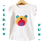 Girls Bright Circus Bear White Tees T-shirts, 100% Cotton. Size 5