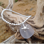 White Sea Glass Starfish Bracelet