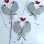Happy Anniversary glitter lovebirds quilted white paper and red love heart card