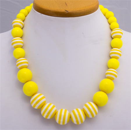 Little Girls Necklace, Sunshine Yellow Bubble Gum Beads.