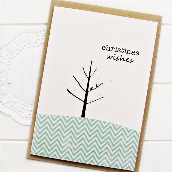 4 christmas cards birds and tree mint chevron zig zags - Mint Christmas Cards