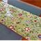 Christmas Table Runner - sage green with holly and red flowers