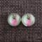 Pink Pineapple ~ Round Stud Post Earrings