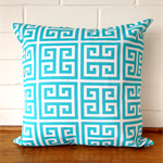 Outdoor Cushion Cover - Aqua and White Maze