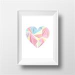 Pastel geometric heart   - wall decor