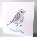 FREE POST newsprint bird SET of 3 happy birthday handmade card with aqua print