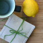 Natural Linen Fabric Coasters - Set of 4 Reversible Double Sided Minimal Decor