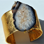 Gold Leather Cuff with Natural Black Agate Stone