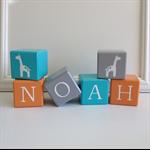 7 Wood Blocks - Bevelled Edge Wooden Letter  - Custom Child Name