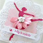 Celebrate birthday ballerina dance pink gingham rose doily pretty girly card