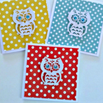 SET OF 3 owl polka dot blank red yellow aqua general greeting cards