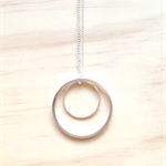 LARGE SIMPLE SILVER CIRCLES TWO CIRCLES PENDANT NECKLACE - FREE SHIPPING