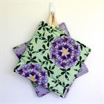 2 x Reversible Pot Holders - Purple wisteria flowers on mauve & green.