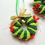 Mini Christmas Wreath Decorations for your Tree - In Green Red and Gold