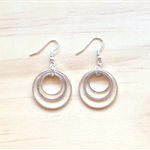 MEDIUM SIMPLE SILVER CIRCLES THREE CIRCLES EARRINGS - FREE SHIPPING WORLDWIDE
