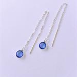 Sterling silver chain earrings with Swarovski crystal birthstone