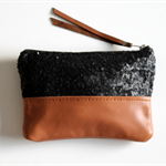 Sequin and leather clutch - black and tan