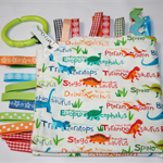 Dinosaurs Taggie blanket - tactile sensory with ribbons around edge