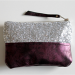 Sequin and leather clutch - silver sequins and leather
