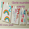 Set of girls number cards PLUS mini pegs, number wall art, number flash cards