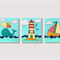 Whale boat lighthouse nursery wall art  - Set of 3 stitched paper art prints