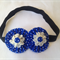 Fabric Flower Yo yo headband for toddler - Polka Dot blue and white/retro