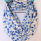 sale infinity scarf - cotton dobby voile blue floral on white buy 2 for $30