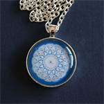 Blue and white Doily pendant