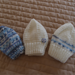 * SPECIAL* 3 beanies; Size 0-6 months, knitted, boy, washable