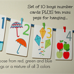 Boys number cards PLUS mini pegs - Boys number art - number flash cards