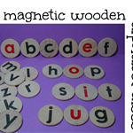 Wooden magnetic alphabet discs - magnetic letters - Montessori alphabet magnets