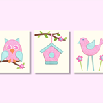 Pink and blue nursery wall art - owl birdhouse bird - Set of 3 kids art prints