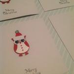 Merry Christmas Owl Card set of 4