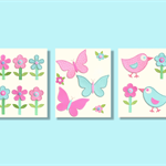 Girls nursery wall art - pink & blue butterflies birds flowers stitched prints