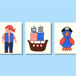 Pirate wall art - pirate ship wall art - boys room décor - Set of 3 prints