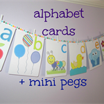 Alphabet wall cards PLUS 26 mini pegs - alphabet wall art - alphabet flash cards