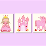 Princess castle unicorn nursery wall art - girls room décor - Three 8x10 prints