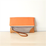 Color block Fold over Clutch Purse/ Orange and beige canvas/ ipad case