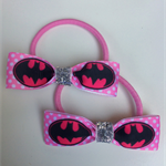Batgirl Super hero Ribbon Hairbow Elastic Hair Ties 2 pack