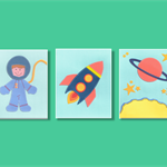 Space wall art - Rocket astronaut kids art - Set of 3 stitched paper prints