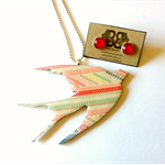 Patterned Swallow Pendant and Stud Earring Set