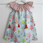 Christmas Ruffle Neck Dress Baby Girls