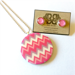 Pink Chevron Wood Pendant and Stud Earring Set