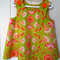 Vintage Style Pinnafore, 6 -12 Months.  Cool cotton. Lime and Orange Paisley.