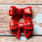 Pair of Red Sequin Bow Clips